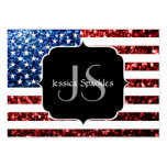 USA flag red and blue sparkles glitters Monogram Large Business Card
