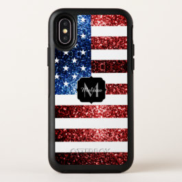 USA flag red and blue sparkles glitters Monogram OtterBox Symmetry iPhone X Case