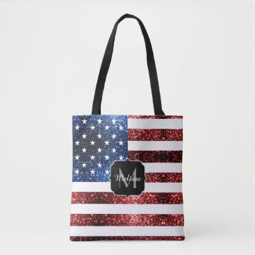 USA Themed USA flag red and blue sparkles glitters Monogram Tote Bag