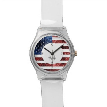 USA Themed USA flag red and blue sparkles glitters Monogram Watch