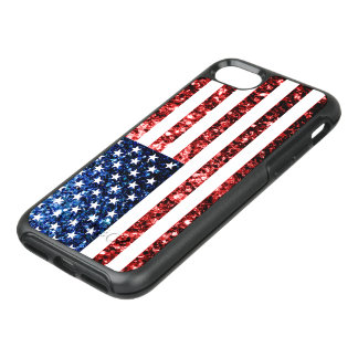 USA flag red and blue sparkles glitters OtterBox Symmetry iPhone 7 Case