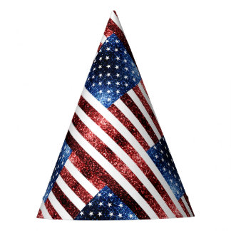 USA flag red and blue sparkles glitters Party Hat