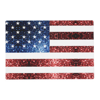 USA flag red and blue sparkles glitters Placemat