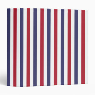 USA Flag Red and Flag Blue Narrow Thin Stripes 3 Ring Binders