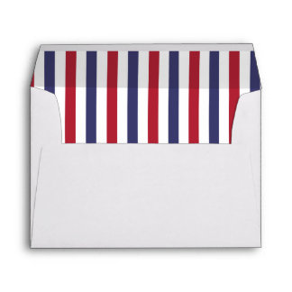 USA Flag Red and Flag Blue Narrow Thin Stripes Envelope