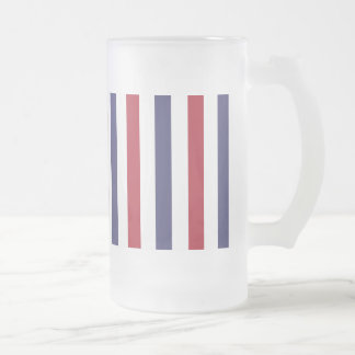 USA Flag Red and Flag Blue Narrow Thin Stripes Frosted Glass Beer Mug