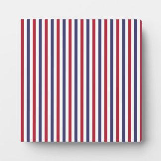 USA Flag Red and Flag Blue Narrow Thin Stripes Plaque