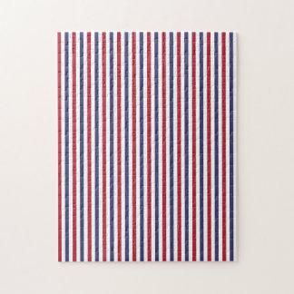 USA Flag Red and Flag Blue Narrow Thin Stripes Jigsaw Puzzles