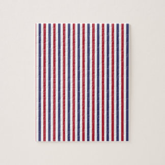 USA Flag Red and Flag Blue Narrow Thin Stripes Puzzle
