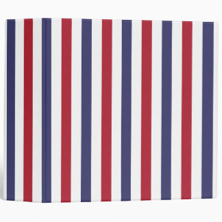 USA Flag Red and Flag Blue Narrow Thin Stripes Vinyl Binder