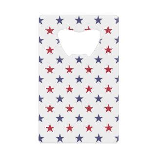 USA Flag Red and Flag Blue Stars Credit Card Bottle Opener