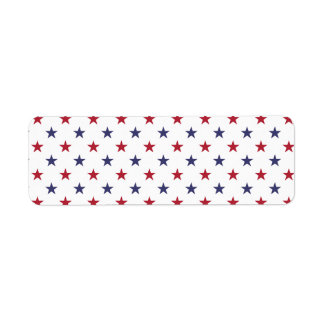 USA Flag Red and Flag Blue Stars Label