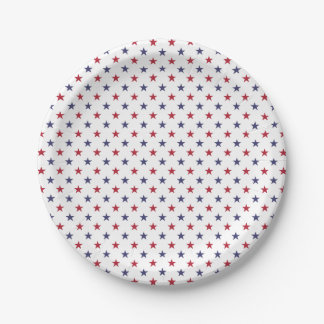 USA Flag Red and Flag Blue Stars Paper Plate