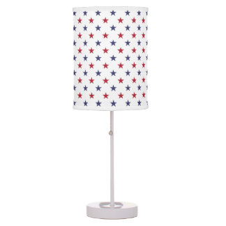 USA Flag Red and Flag Blue Stars Table Lamp