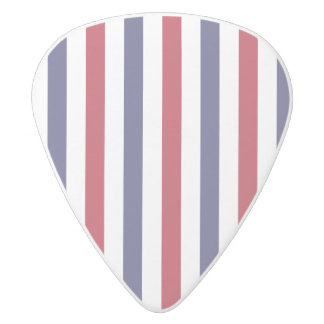 USA Flag Red and Flag Blue Wide Stripes on White White Delrin Guitar Pick