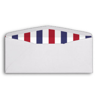 USA Flag Red and Flag Blue Wide Stripes on White Envelope