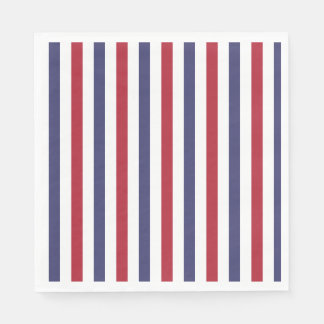 USA Flag Red and Flag Blue Wide Stripes on White Paper Napkin
