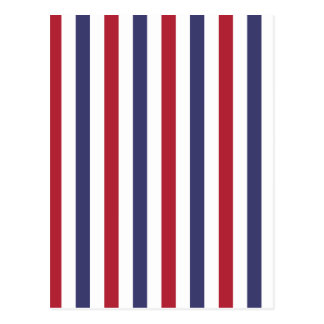 USA Flag Red and Flag Blue Wide Stripes on White Postcard