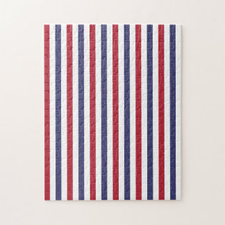 USA Flag Red and Flag Blue Wide Stripes on White Puzzles
