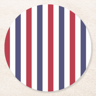 USA Flag Red and Flag Blue Wide Stripes on White Round Paper Coaster