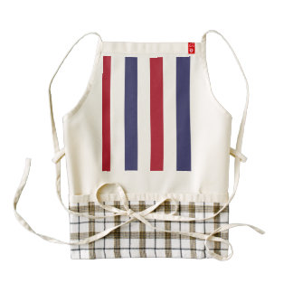USA Flag Red and Flag Blue Wide Stripes on White Zazzle HEART Apron