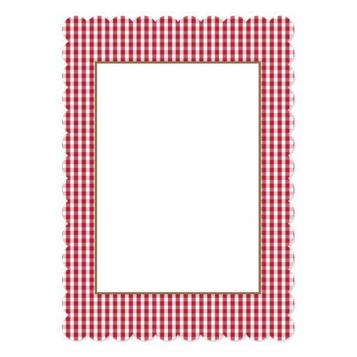 usa flag red and white gingham checked 5x7 paper invitation card