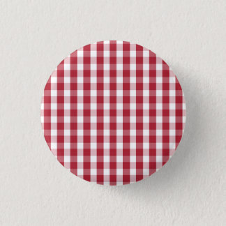 USA Flag Red and White Gingham Checked Button
