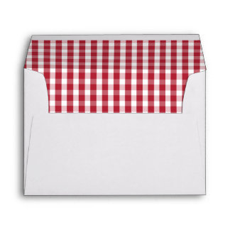 USA Flag Red and White Gingham Checked Envelope