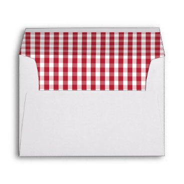 USA Themed USA Flag Red and White Gingham Checked Envelope
