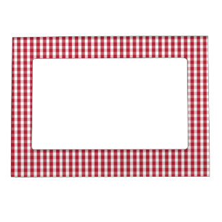 USA Flag Red and White Gingham Checked Magnetic Frame