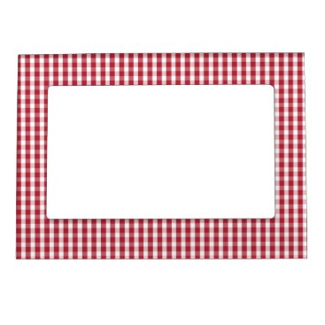 USA Themed USA Flag Red and White Gingham Checked Magnetic Frame