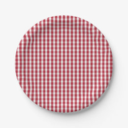 USA Flag Red and White Gingham Checked Paper Plate  sc 1 st  Zazzle & Red White Checks Plates | Zazzle