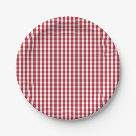 USA Flag Red and White Gingham Checked Paper Plate