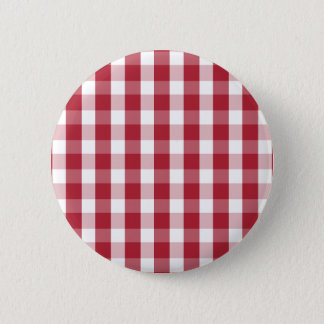 USA Flag Red and White Gingham Checked Pinback Button