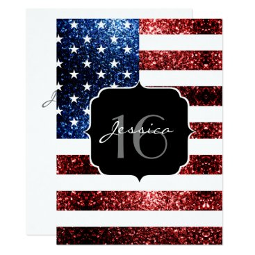 USA Themed USA flag red blue sparkles glitter Sweet 16 Invite