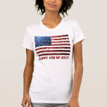 USA flag red & blue sparkles glitters 4th of July T Shirt