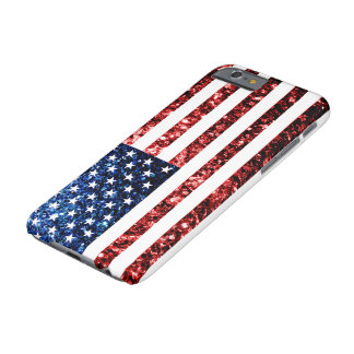 USA flag red & blue sparkles glitters Barely There iPhone 6 Case