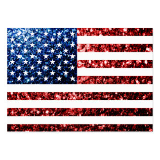 USA flag red & blue sparkles glitters Business Card