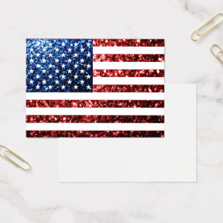 USA flag red blue sparkles glitters Business Card