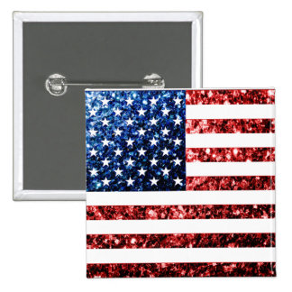 USA flag red & blue sparkles glitters 2 Inch Square Button