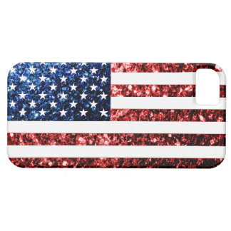 USA flag red & blue sparkles glitters iPhone 5 Cases