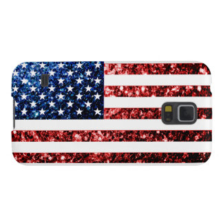 USA flag red & blue sparkles glitters Case For Galaxy S5