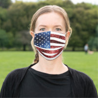 USA flag red blue sparkles glitters Cloth Face Mask