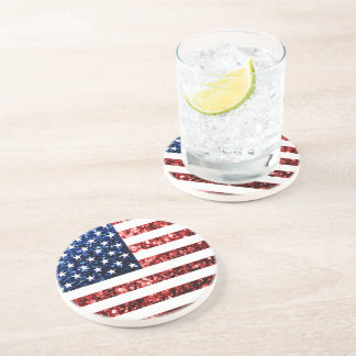 USA flag red & blue sparkles glitters Drink Coaster