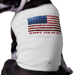 USA flag red blue sparkles glitters Happy 4th July Doggie T Shirt