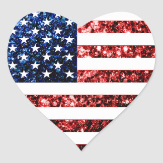 USA flag red & blue sparkles glitters Heart Sticker