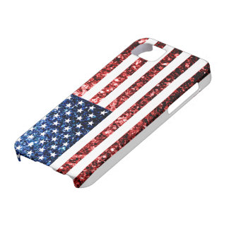 USA flag red & blue sparkles glitters iPhone SE/5/5s Case