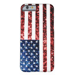 USA flag red & blue sparkles glitters iPhone 6 Case