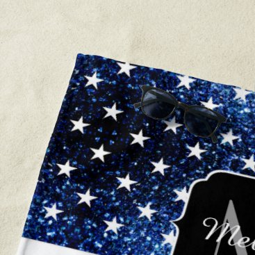 USA Themed USA flag red blue sparkles glitters Monogram Beach Towel