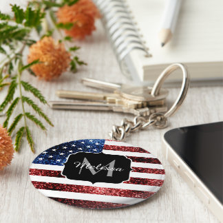 USA flag red blue sparkles glitters Monogram Keychain